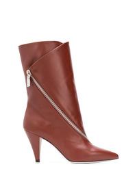 Botas a media pierna de cuero burdeos de Givenchy