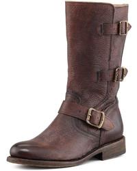 Botas a media pierna de cuero en marrón oscuro de Frye