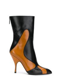 Botas a media pierna de cuero en multicolor de Bottega Veneta
