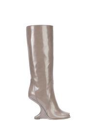 Botas a media pierna de cuero grises