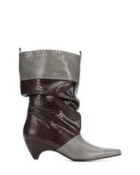 Botas a media pierna de cuero grises de Stella McCartney