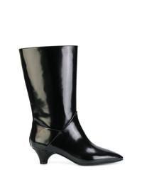 Botas a media pierna de cuero negras de Marni