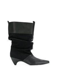 Botas a media pierna de cuero negras de Stella McCartney