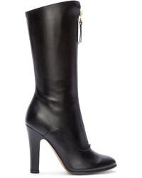 Botas a media pierna de cuero negras de Valentino