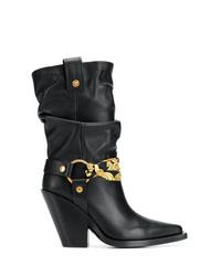 Botas a media pierna de cuero negras de Versace