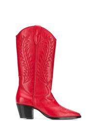 Botas a media pierna de cuero rojas de Paris Texas
