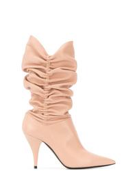 Botas a media pierna de cuero rosadas de Casadei
