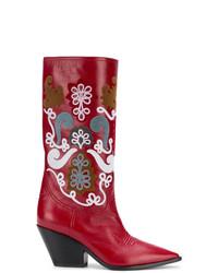 Botas camperas de cuero con adornos rojas de Casadei