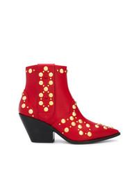Botas camperas de cuero con tachuelas rojas de Casadei