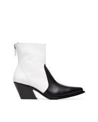 Botas camperas de cuero en negro y blanco de Givenchy