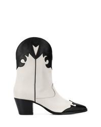 Botas camperas de cuero en negro y blanco de Paris Texas