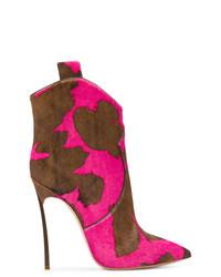 Botas camperas de cuero rosa de Casadei