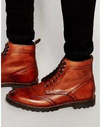Botas casual de cuero rojas