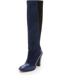 Botas de caña alta de ante azul marino de Derek Lam 10 Crosby