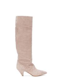 Botas de caña alta de ante marrón claro de Valentino