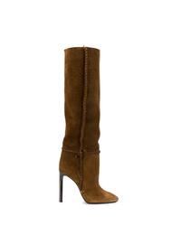 Botas de caña alta de ante marrónes de Saint Laurent