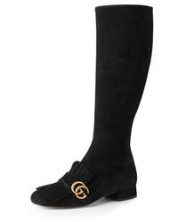 Botas de caña alta de ante negras de Gucci