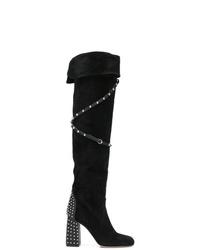 Botas de caña alta de ante negras de RED Valentino