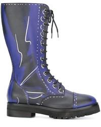 Botas de caña alta de cuero azules de Moschino