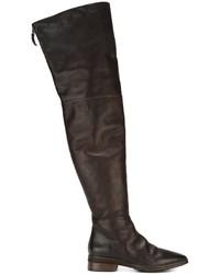 Botas de caña alta de cuero en marrón oscuro de Marsèll