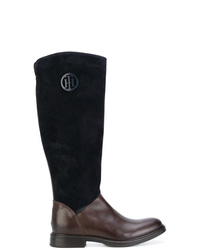 Botas de caña alta de cuero en marrón oscuro de Tommy Hilfiger