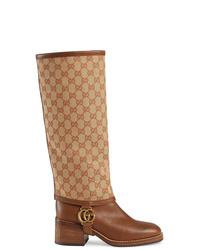 Botas de caña alta de cuero marrónes de Gucci