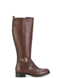 Botas de caña alta de cuero marrónes de Tommy Hilfiger