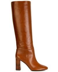 Botas de caña alta de cuero marrónes de Tory Burch