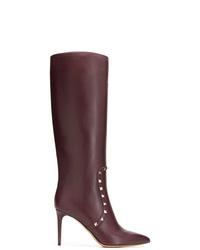 Botas de caña alta de cuero morado oscuro de Valentino