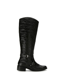 Botas de caña alta de cuero negras de Mara Mac