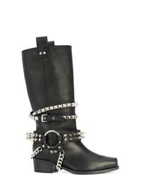 Botas de caña alta de cuero negras de Moschino