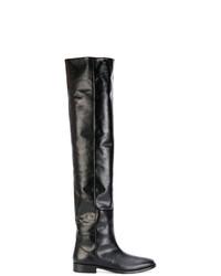 Botas de caña alta de cuero negras de Saint Laurent