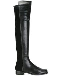 Botas de caña alta de cuero negras de Stuart Weitzman
