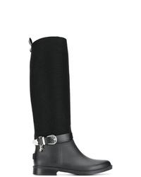 Botas de caña alta de cuero negras de Trussardi Jeans