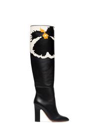 Botas de caña alta de cuero negras de Valentino