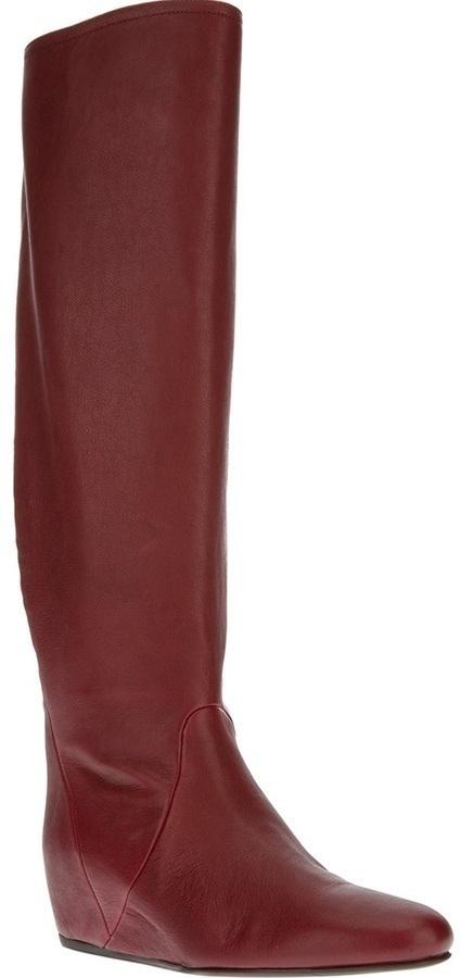 Botas de caña alta de cuero rojas de Lanvin