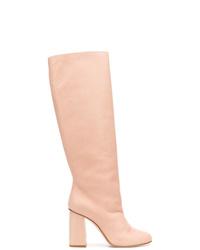 Botas de caña alta de cuero rosadas de RED Valentino