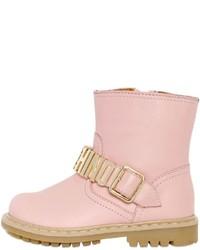 Botas de cuero rosadas de Moschino
