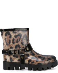 Botas de lluvia de leopardo marrónes de Dolce & Gabbana