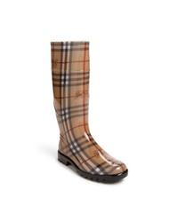 Botas de lluvia de tartán marrónes de Burberry