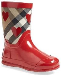 Botas de lluvia estampadas rojas de Burberry