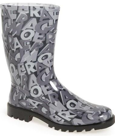 Botas de lluvia grises de Salvatore Ferragamo