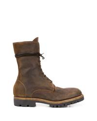Botas de trabajo de cuero en marrón oscuro de Guidi