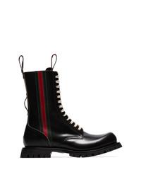 Botas de trabajo de cuero negras de Gucci