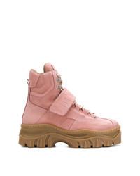 Botas planas con cordones de ante rosadas de MSGM