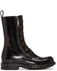Botas planas con cordones de cuero con tachuelas negras de Dolce & Gabbana