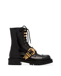 Botas planas con cordones de cuero con tachuelas negras de Versace