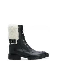 Botas planas con cordones de cuero en negro y blanco de Givenchy