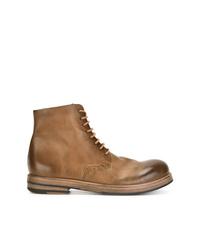 Botas planas con cordones de cuero marrónes de Marsèll
