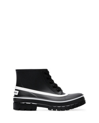 Botas planas con cordones de cuero negras de Givenchy